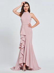 Вечернее платье с высоким воротом и оборками, длинное платье для выпускного вечера, платье на заказ, 2019