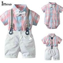 Ensemble de 2 pièces pour petits garçons   Tenue de soirée pour bébés garçons, T-shirt rose à carreaux avec nœud, blanc, bavoir, short en coton