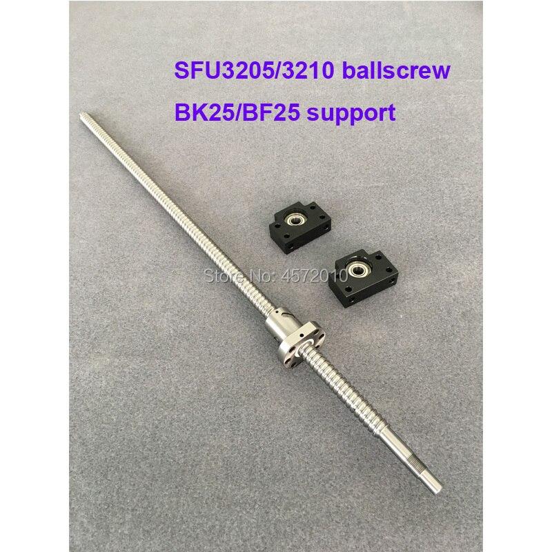 SFU3205 SFU3210 Ballscrew 650 700 750 800 850 900 1000 mm con extremo mecanizado + 3205 Ballnut + BK/BF25 soporte de extremo para piezas cnc