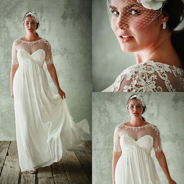 Chiffon Lace Appliques Beach Bridal Dress Plus Size Wedding Dresses 2019 Bridal Empire Dress Half Sleeves Floral Print Dress empire waist tartan print slip dress