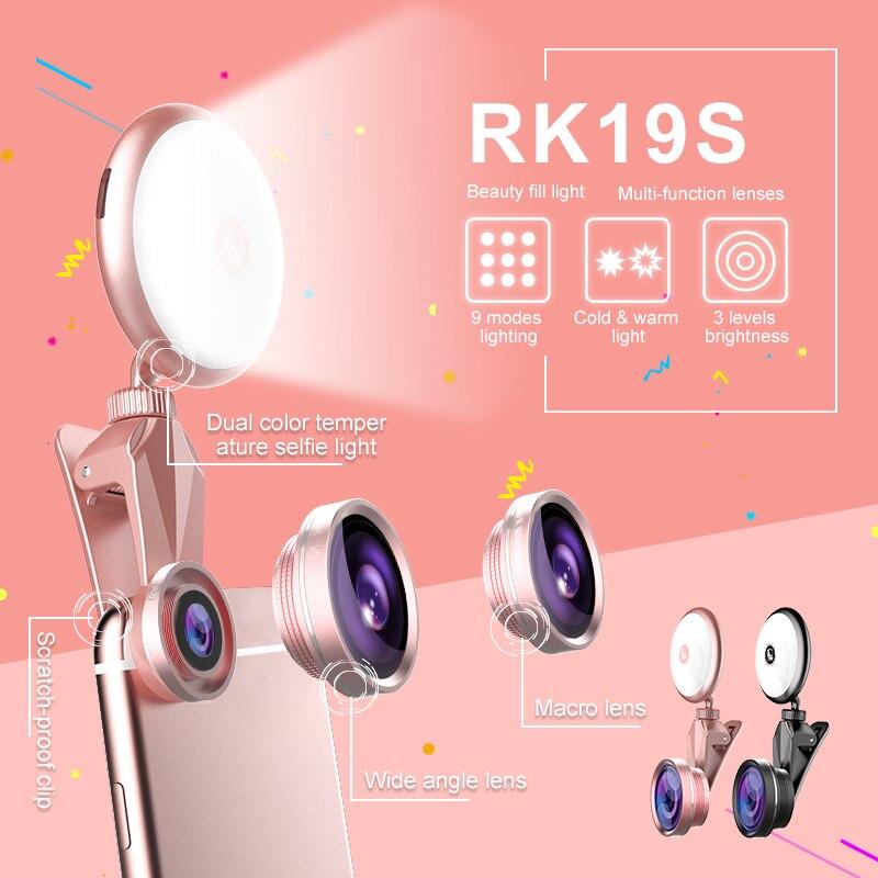 RK19S LED Selfie Flash Luz de relleno caliente y fría bombillas con ángulos amplios Fisheye Marcro lente rotación 360 para iPhone X/8 teléfonos