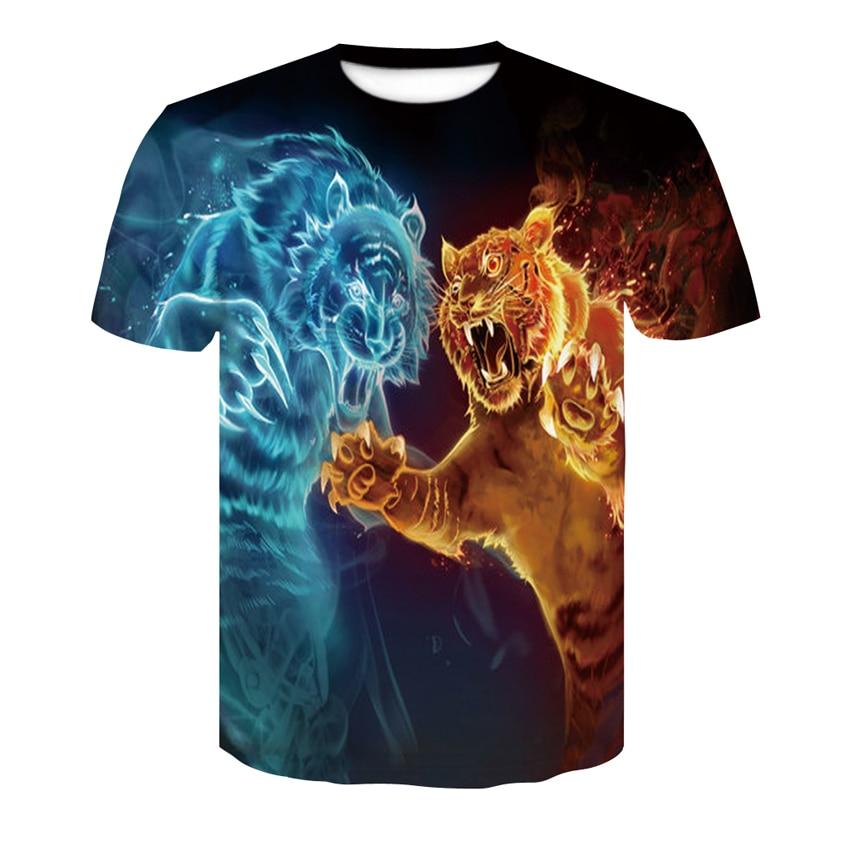 2019 nuevo fuego camiseta con diseño de tigre camiseta anime animal 3D de los hombres de impresión seco y cómodo de los hombres Camiseta de manga corta