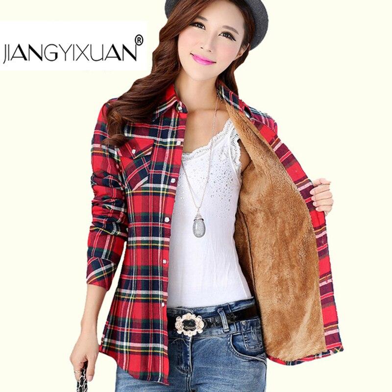 Blusas gruesas de terciopelo de invierno de algodón de manga larga para mujer camisa a cuadros Blusas de franela camisa femenina Camisas de mujer tops femenina