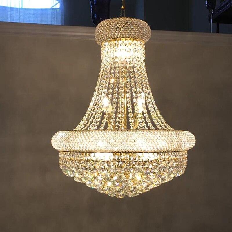 Современная хрустальная люстра, освещение для гостиной, спальни, подвеска К9, хрустальная лампа Ac90-26V E14 Светодиодный лампы, золотые хромиров...