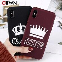 Ottwn corona funda parejas para iPhone 11 11 Pro Max 6 6s 7 7 Plus X XR XS Max 5 5S SE carta Rey reina teléfono caso suave de la cubierta del TPU del