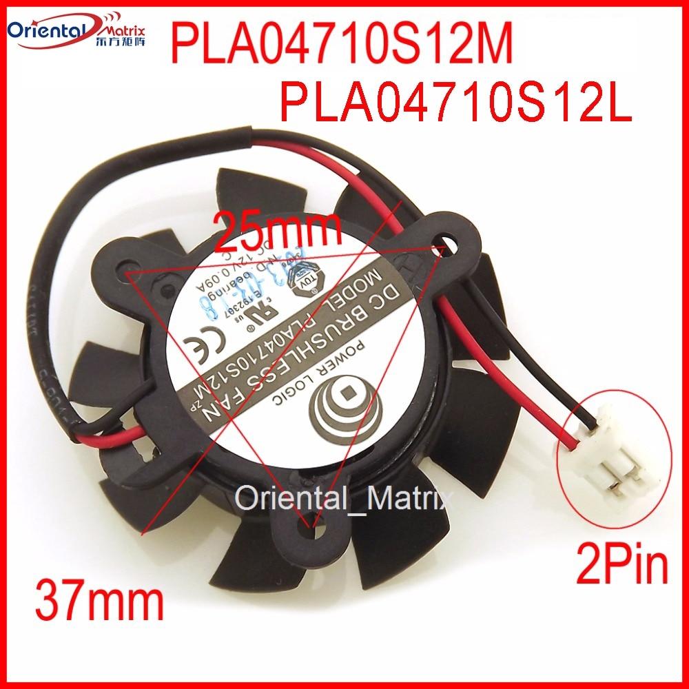 Freies Verschiffen PLA04710S12L PLA04710S12M DC12V 0.09A 37mm 25x25x25mm 4010 Grafikkarte Lüfter 2Pin