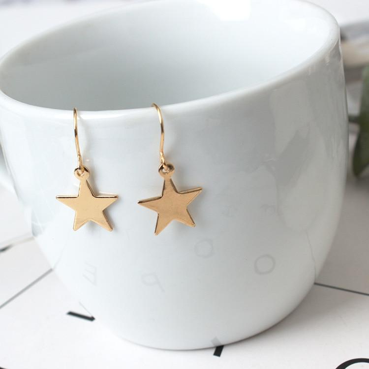 2020 New Fashion Jewelry Earrings Minimalist Gold Wild Geometric Cute Stars Pentagonal Earrings Female Wholesale