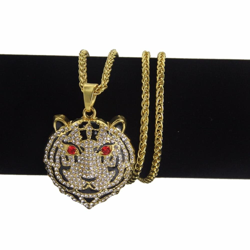 Модные ювелирные изделия в стиле хип-хоп, ожерелье с подвеской в виде головы тигра, Прямая поставка