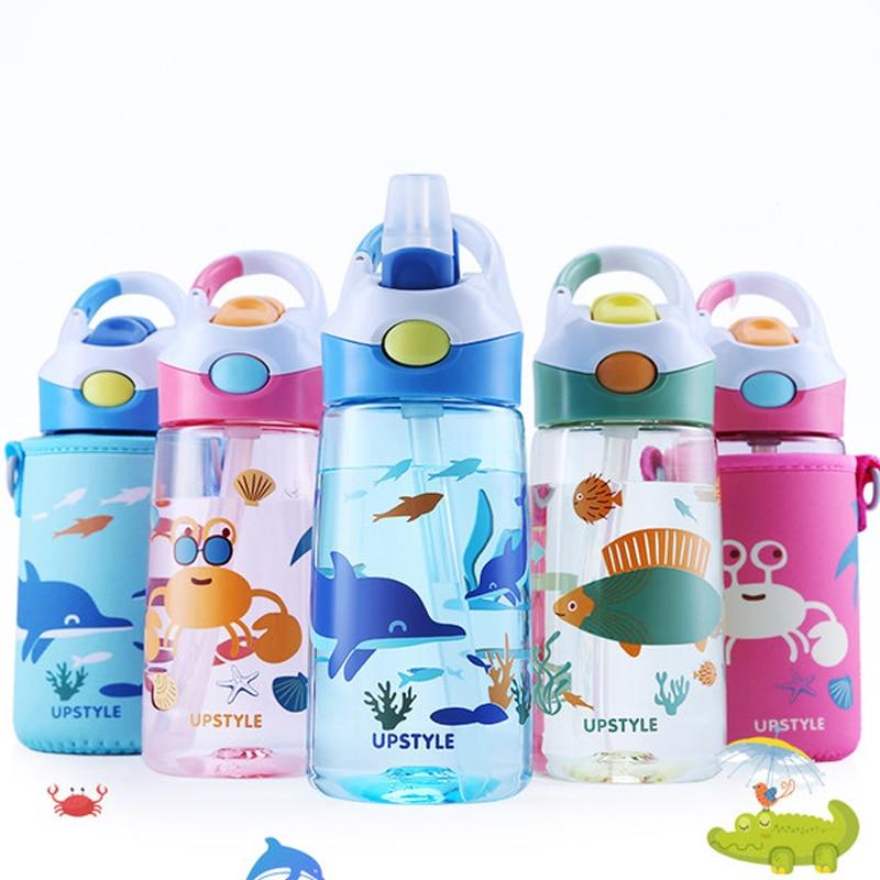 Kids Water Bottle With Protective Bag 400ml Drinking Kettle Cartoon Animal Drinkware Baby Fieeding Water Bottle Mama Bottle