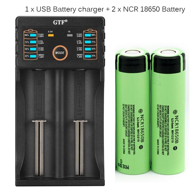 GTF 100% Оригинал 3,7 V 3400mAh 18650 аккумулятор аккумуляторная батарея с зарядным устройством для 26650 14500 18340 18650 батарея