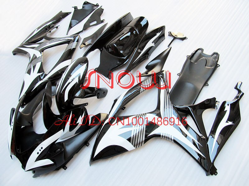 Blanc/Noir D32 pour SUZUKI GSX R600 R750 06-07 GSXR 600 750 GSXR600 GSXR750 GSX-R600 GSX-R750 K6 06 07 2006 2007 Kit de carénage