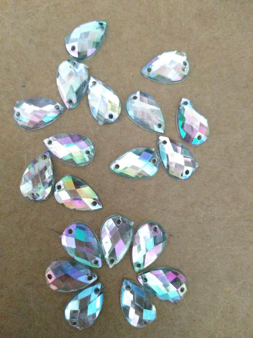 100pcs/lot Sew On Water Drop Shape Rhinestones Gems 8X13mm Clear AB Flatback Beads For Dress Shoe DIY Craft Accessary