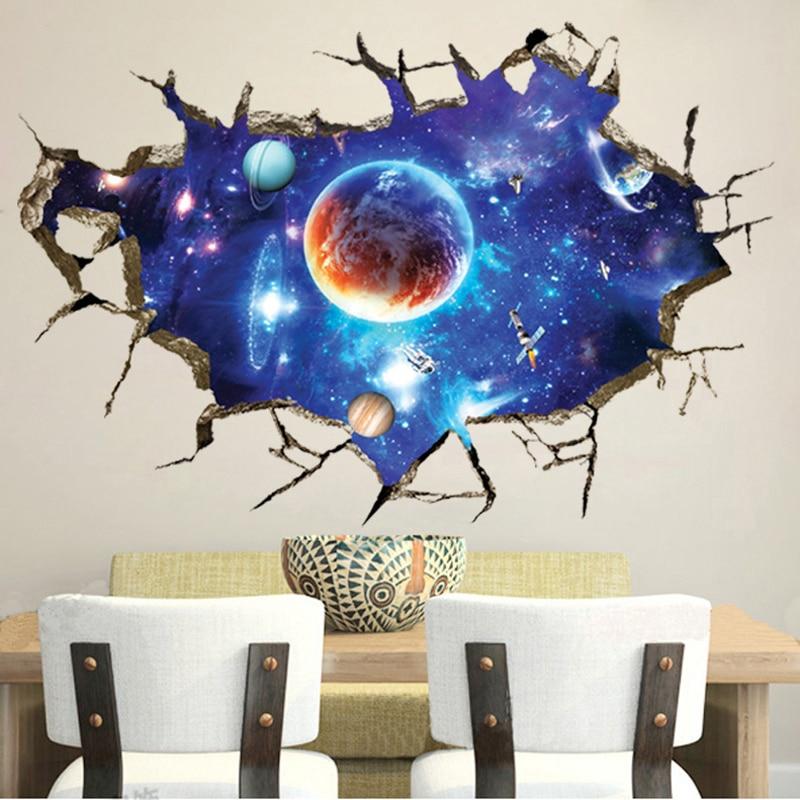 3D Cosmic Space planet Broken wall stickers for kids rooms bedroom nursery home decoration decals murals Break the wall sticker