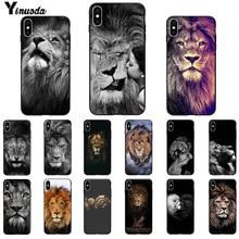 11pro MAX Animaux lion Smart Cover Noir Soft Shell Téléphone étui pour iphone X XS MAX 6 6S 7 7plus 8 8plus 5 5S XR