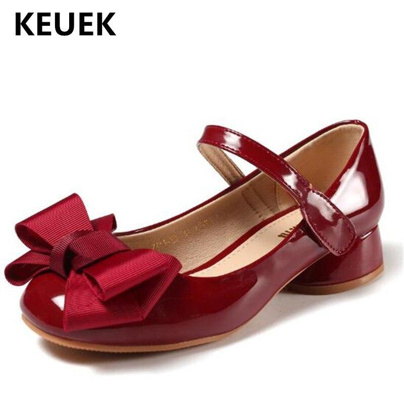 جديد الأطفال أحذية الأميرة الاطفال أحذية من الجلد عقدة شعر للفتيات الرقص أداء الطفل الاطفال عالية الكعب حذاء طفل صغير 03