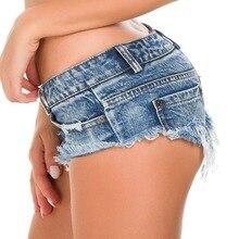 Mini Short Sexy Club Femme Short en jean Femme 2019 été string jean pour femmes taille basse Bermudas Micro Short jean Feminino