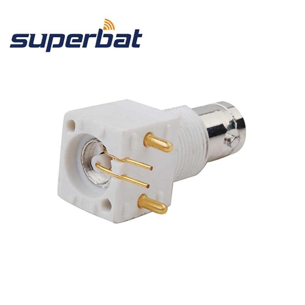 Superbat 10 шт РЧ BNC разъем коммерческий сквозной отверстие гнездо правый угол PCB Крепление