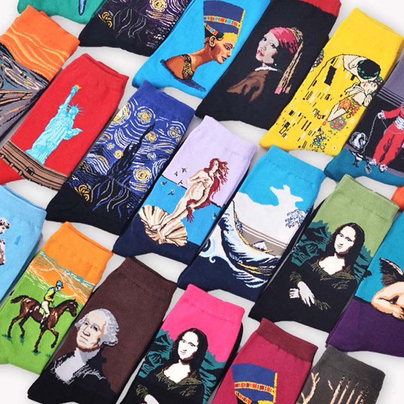 Starry Night Winter Retro Women Personality Art Van Gogh Mona Lisa Famous Painting Men Socks Oil Funny Happy Socks Dropshopping