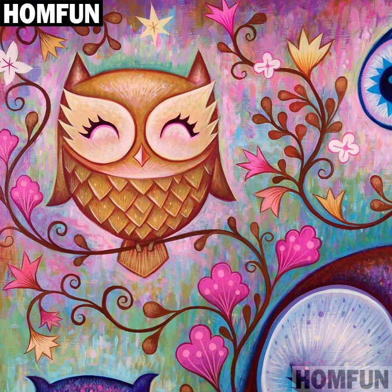 "HOMFUN Full Square/Round Drill 5D DIY Diamond Painting ""Cartoon owl"" Embroidery Cross Stitch 5D Home Decor Gift A06510"