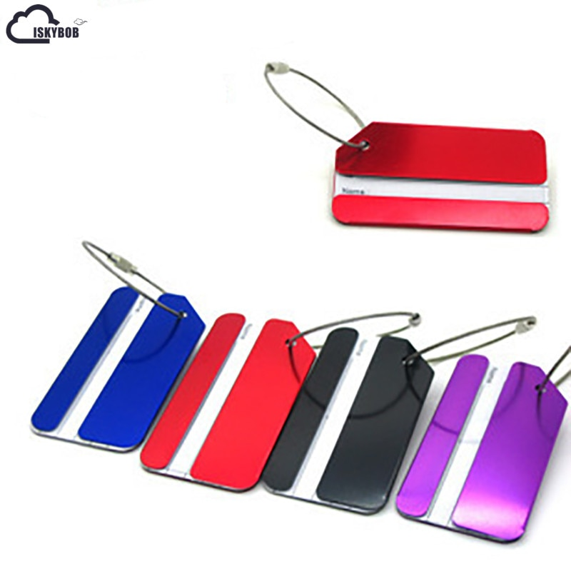 ISKYBOB  1PCS Luggage Bag Tags Address Holder Secure ID Label Travel Aluminum Metal New Yellow/Black