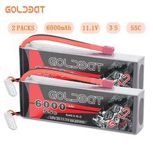 2 einheiten GOLDBAT 6000 mAh lipo Batterie 11,1 V RC Auto 3 S Lipo Batterie 11,1 V lipo rc Batterie fpv 55C mit Deans Stecker für Lkw Heli