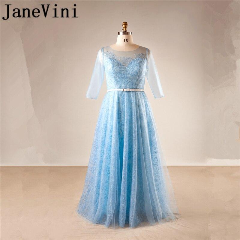 JaneVini-vestidos de encaje para madre de la novia, vestido de noche largo...