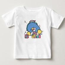 Garçons et filles été T-shirt à manches courtes écoute de la musique pingouin imprimé enfant T-shirt 2-15 ans vêtements pour enfants