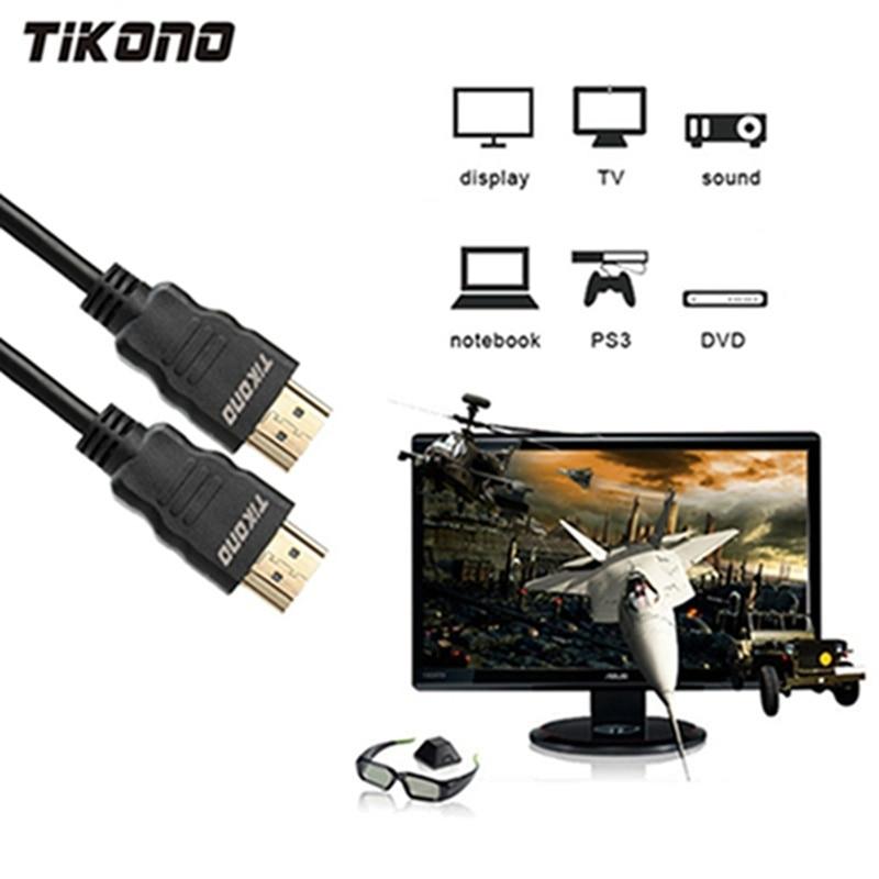 Tikono Cabo HDMI Macho para Macho Cabo HDMI HD 1080P de Alta velocidade Banhado A Ouro Plugue do Cabo para PS3 Projetor TV LCD Computador