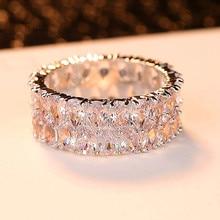 Anillo de piedra de circón Boho para mujer, anillo de compromiso de Color plateado de lujo, anillo de compromiso Vintage para mujer