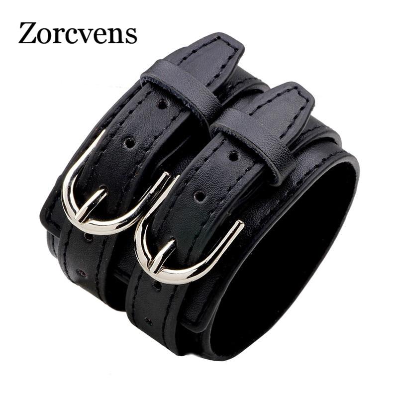 ZORCVENS Fashion Double Belt Leather Wrist Friendship Big Wide Bracelet for Men Buckle Vintage Punk