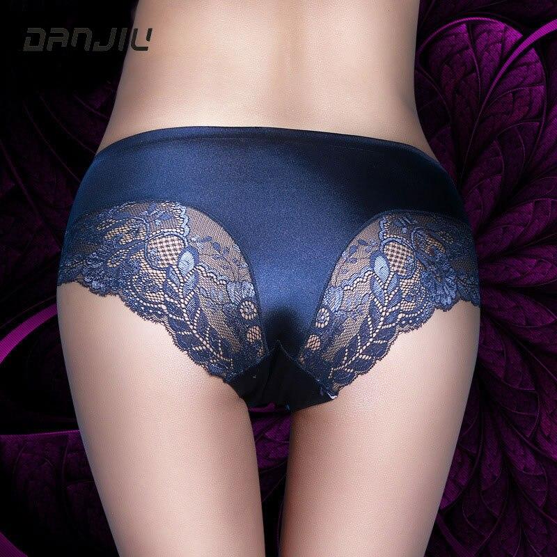 Danjiu quente de alta qualidade mulheres rendas sexy calcinha luxo sem costura sólida roupa interior elegante suave mulher breifs cintura média lingerie
