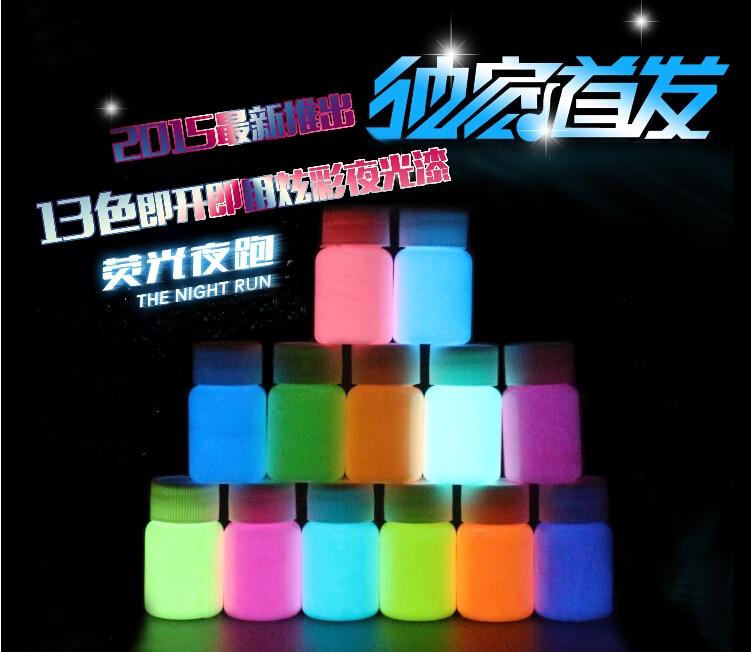 Mixed 12 colors Luminous Acrylic body paints,5 pieces/lot,super bright fluorescent paint,pigment Noctilucent powder,glow in dark