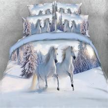 Blanche neige cheval runing ensembles de literie unique reine pleine taille 3/4pc 3d housse de couette 500tc taie doreiller enfants garçons lit dans un sac