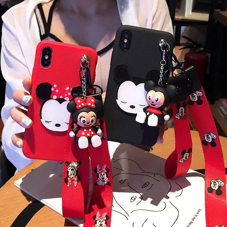 3D cute minnie Soft Case toy stander Strap Lanyard For Samsung Galaxy A10 A20E A30 A40 A50 A70 A80 A90 5G A10S A20S M10 M20 M30S
