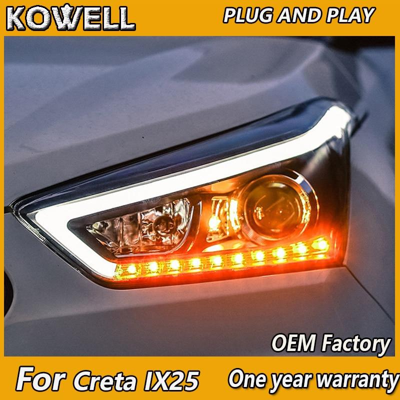 Diseño de coche KOWELL para Hyundai ix25, faros delanteros para Creta linterna LED para cabeza, Ojo de Ángel led DRL, luz frontal, lente bi-xenón HID