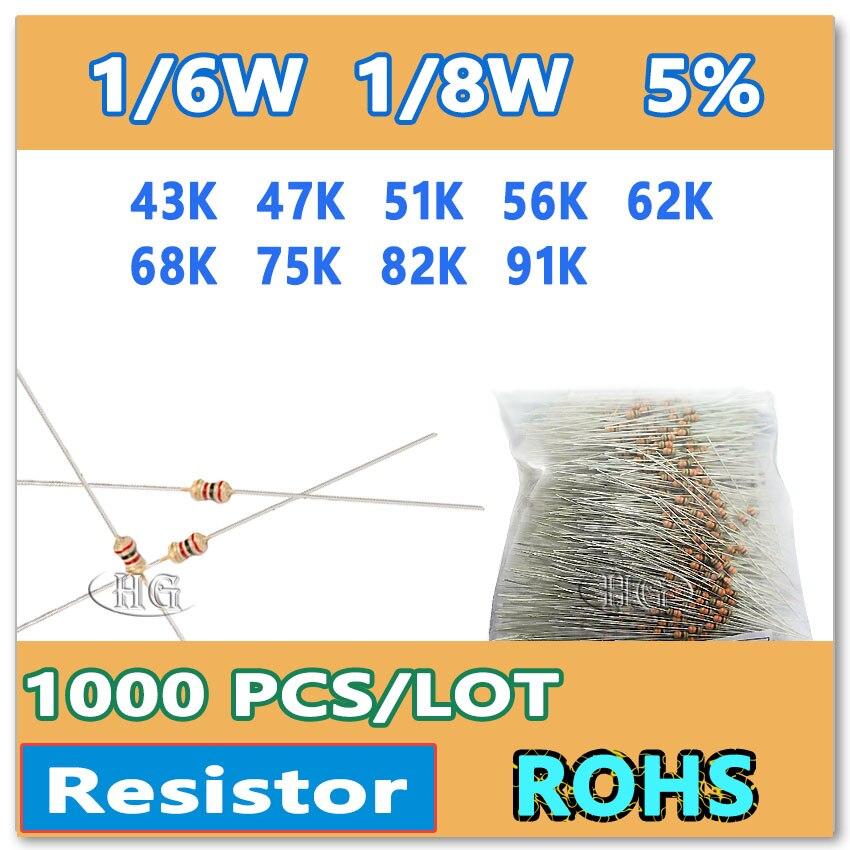 Jasnprosma 1000 pçs/lote 5% 1/6 w 1/8 43 k 47 k 51 k 56 62 k 68 k 75 k 82 k 91 k filme de carbono mergulho ohm resistor