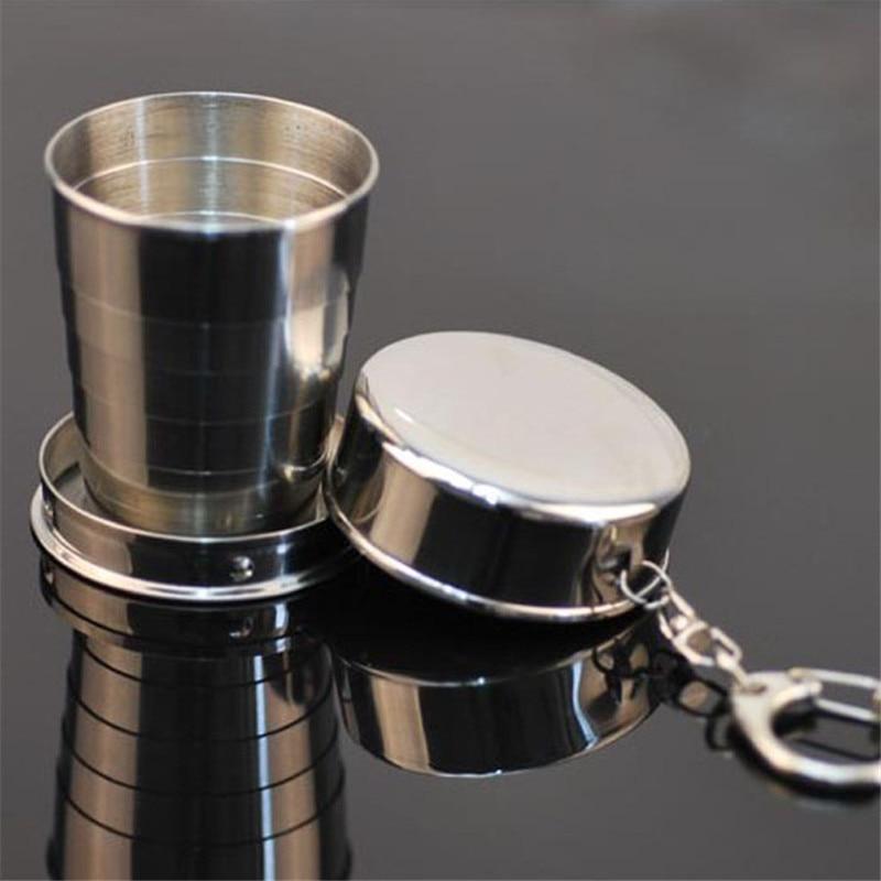 Botella vaso de chupito plegable telescópico de viaje de acero vacío vaso de bolsillo de emergencia