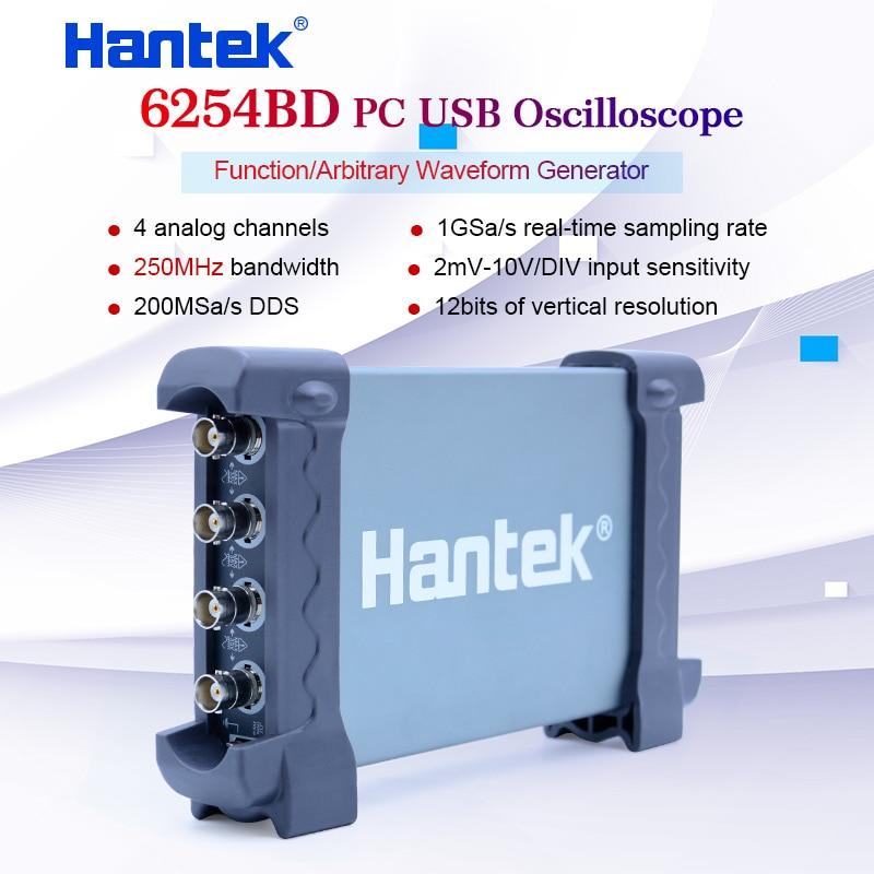 Hantek 6254bd pc osciloscópio handheld digital 4 canais 250 mhz usb oscilógrafo com 25 mhz gerador de sinal osciloscopio