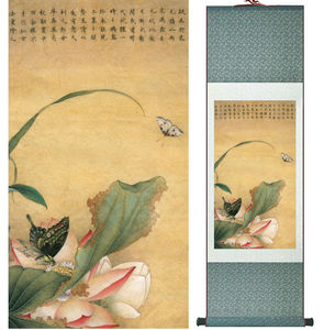 Butterfly and Lotus flower painting  water lily painting Chinese wash painting home decoration No.32109
