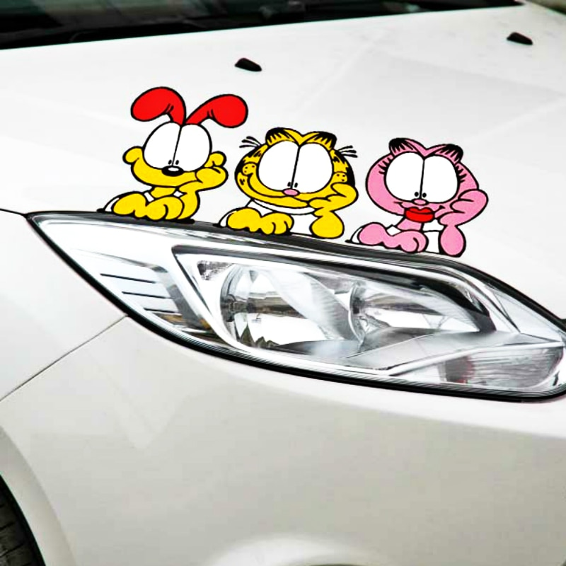 Accesorios divertidos para el coche Aliauto Garfield Peeking pegatina de coche para Peugeot 307 206 407 406 405 3008 4008 208 308 306 107 Honda