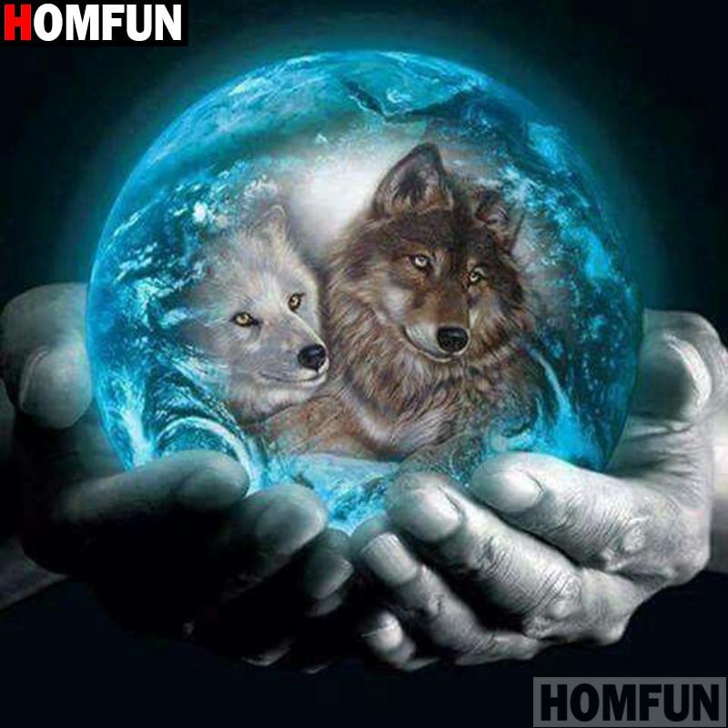 "HOMFUN Full Square/Round Drill 5D DIY Diamond Painting ""Planet wolf"" 3D Diamond Embroidery Cross Stitch Home Decor A21376"