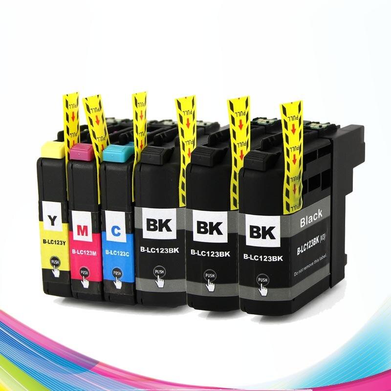 CISSPLAZA 6PK LC121 LC123 LC125 cartuchos de tinta compatible para hermano MFC- J245 J470DW J650DW J870DW J4410DW J4510DW J4610DW