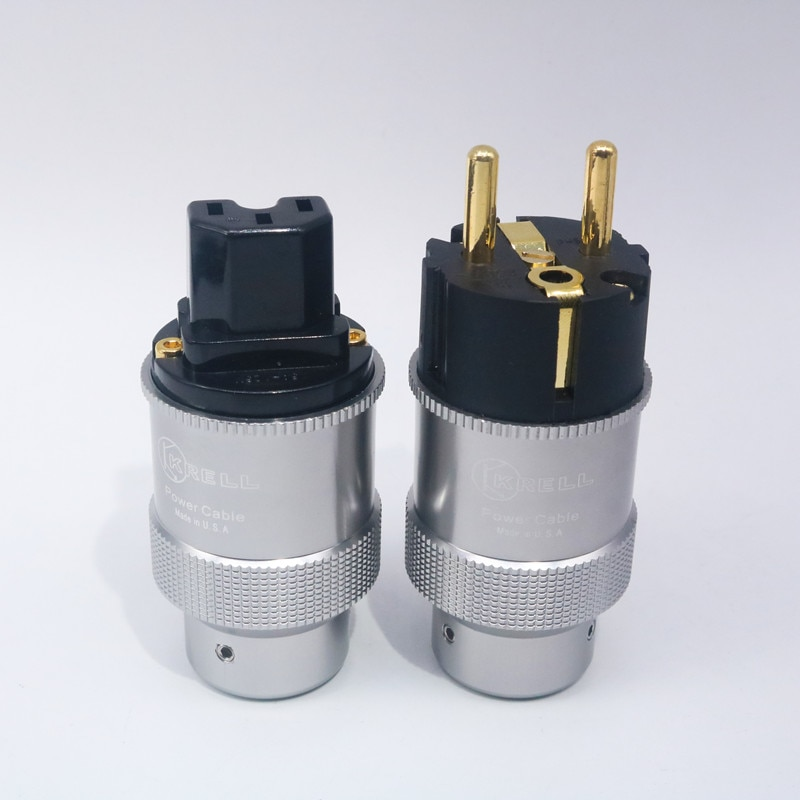 Paar Hallo-End Krell Gold Überzogene EU Power Plug IEC Audio Stecker HiFi AC Power Kabel Stecker Für Audiophile DIY Netz Kabel