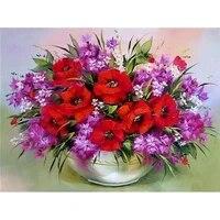 beautiful red poppy flower diy diamond painting diamond embroidery cross stitch square drill full rhinestones wall art a5877r
