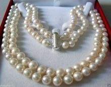Muito bom natural duplo strand 8-9mm akoya água salgada pérola colar aaa incomum k banhado a ouro jóias femininas finas livre shippi
