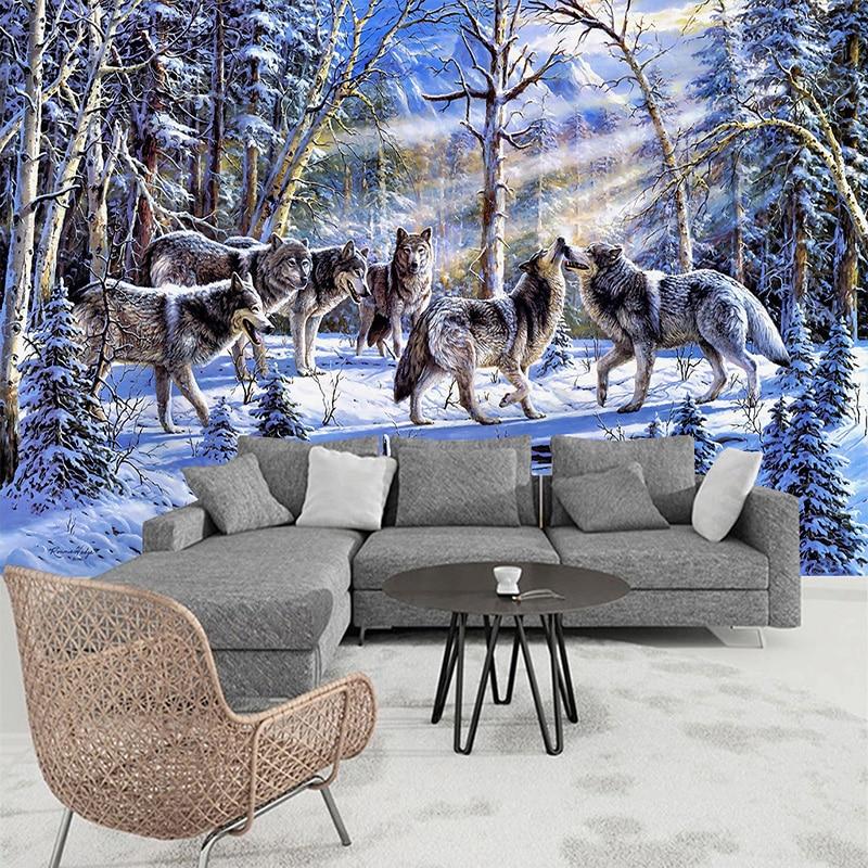 3D Wallpaper Modern Snow Wolf Oil Painting Photo Wall Murals Living Room Study Backdrop Wall Decor Animal Wallpaper Papel Mural