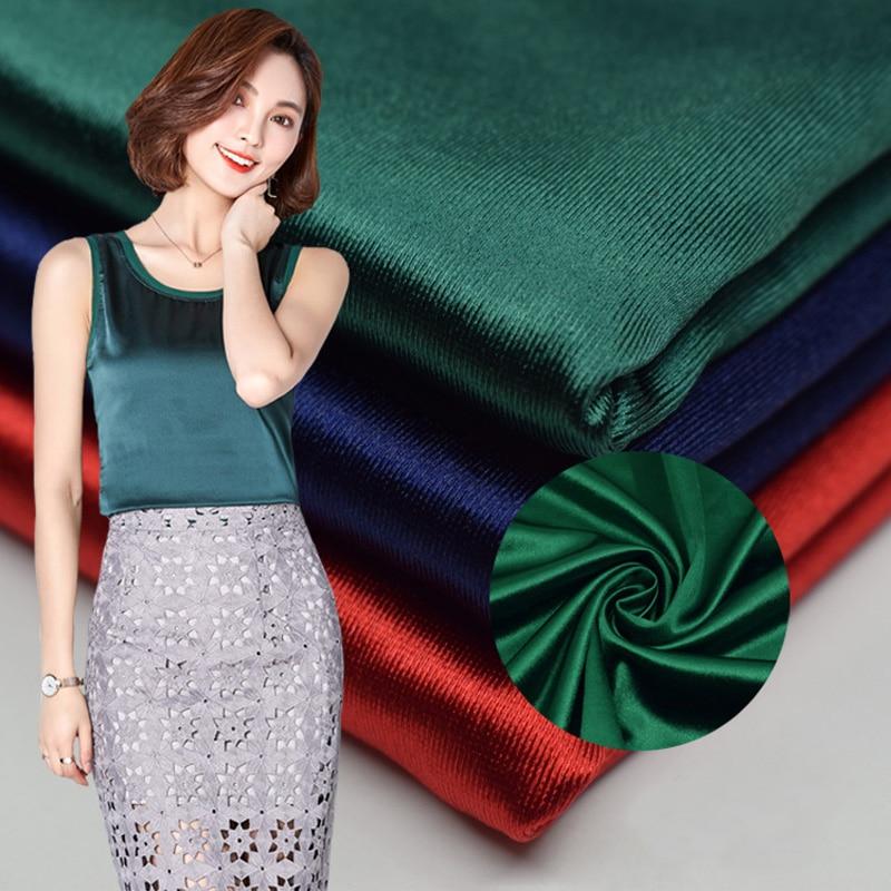 Толстая 90% полиэстер 10% спандекс лайкра атласная ткань уток сторона двухсторонняя эластичная хорошая драпировка для платья футболка брюки