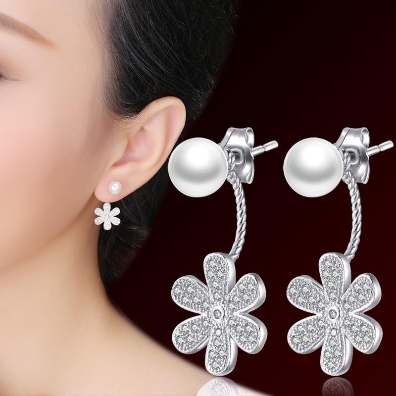 AliExpress - Pearl silver stud earring anti-allergic 925 pure silver earrings fashion accessories brief neckband stud earring elegant female