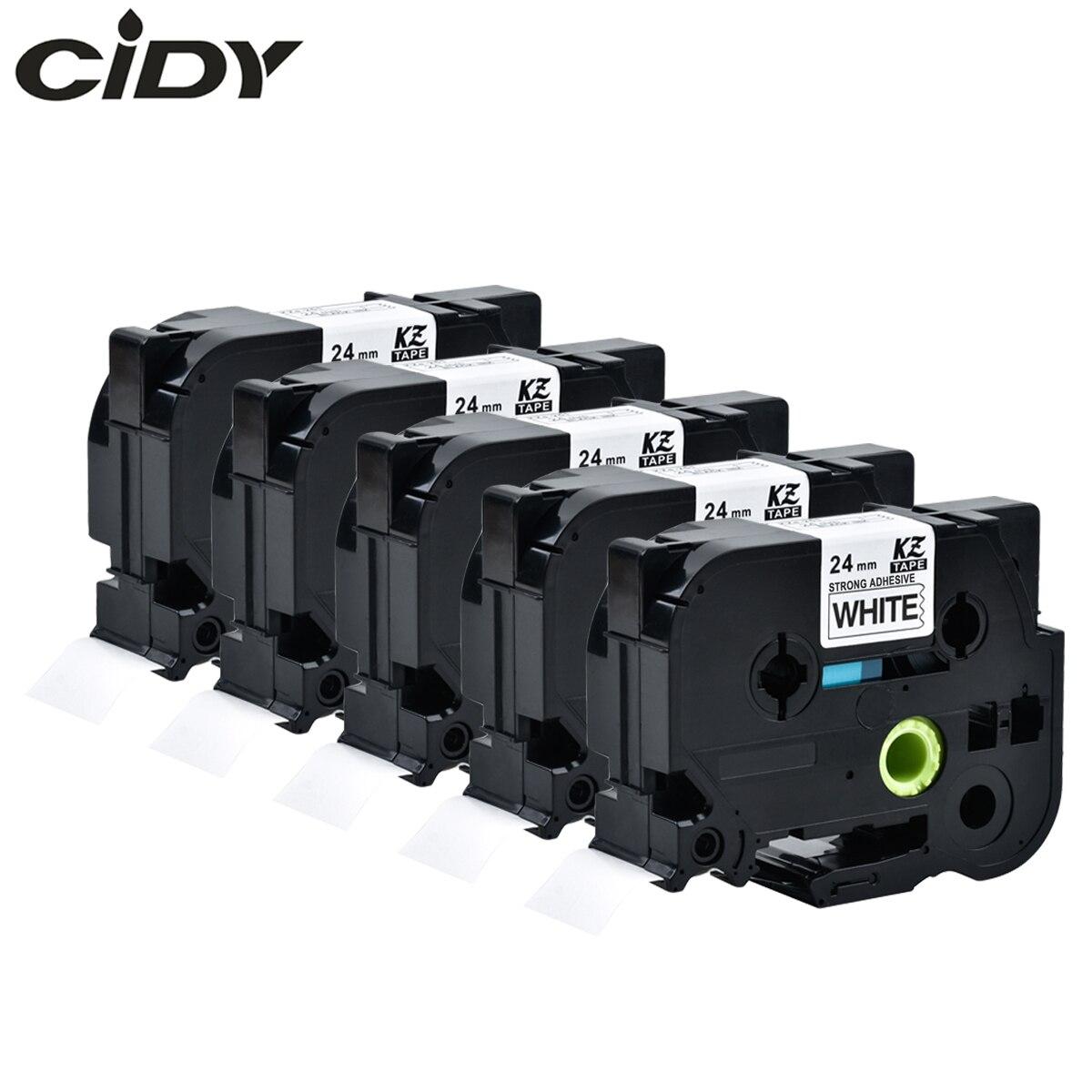 Cidy 5 قطع أسود على أبيض قوي لاصق TZe-S251 tz-S251 s251 تزي متوافق الأخ طابعة tz ف اتصال s251