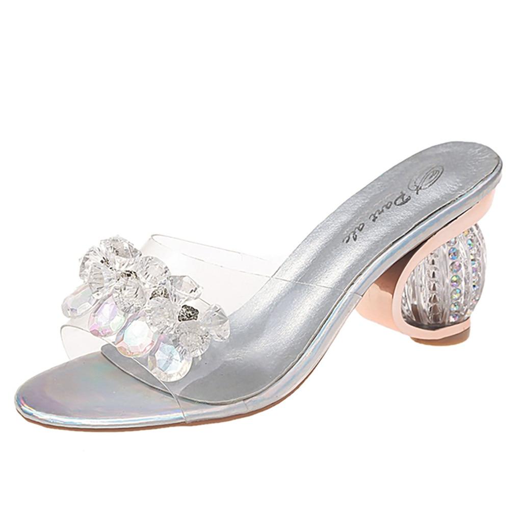 Zapatos SAGACE para mujer, estilo Strang, sexis, de alta calidad, zapatos de tacón de cristal, zapatillas informales, sandalias súper altas de 8cm